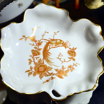 Limoges Porcelain Candy Dish with a Phoenix Design
