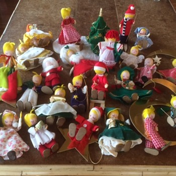Mid-Century cloth Christmas angels