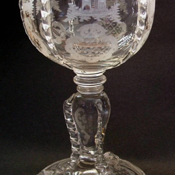 Stag and Castle Goblet Bohemian? - Art Glass
