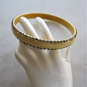 1920's celluloid and rhinestone bangle - Costume Jewelry