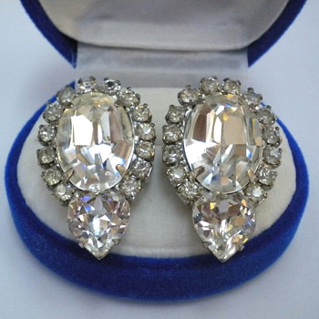 Weiss Rhinestone Jewelry - Earrings and Brooches - Costume Jewelry