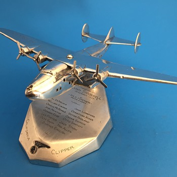 RARE Pan Am Boeing B-314 Clipper Cast Aluminum Award Model 1939  - Advertising