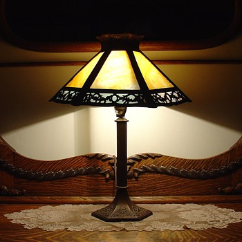Antique Slag Glass Table Lamp - Lamps
