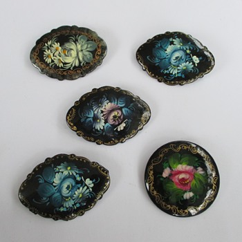 more Russian lacquerware brooches - Costume Jewelry