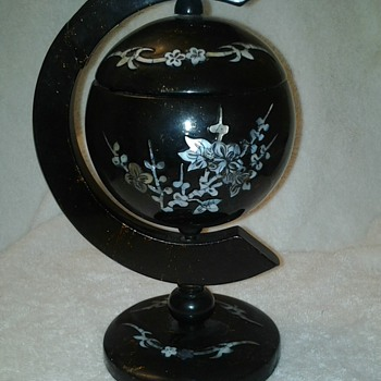 WOODEN MOTHER OF PEARL INLAY ASHTRAY  ?