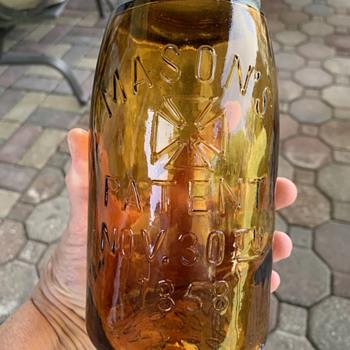 Amber Mason Jar - Bottles