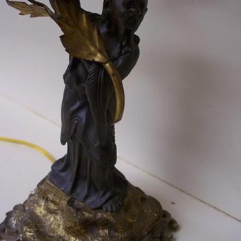 Confucius / Asian  Bronze Sculpture Lamp.  Help with Signature Artist Plz