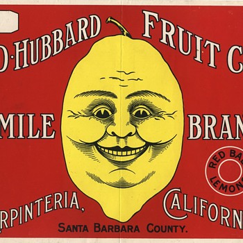 Smile Carpenteria Santa Barbara vintage lemon crate label - Advertising