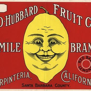 Smile Carpenteria Santa Barbara vintage lemon crate label - Advertising