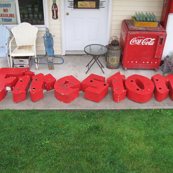 OLD NEON PORCELAIN FIRESTONE SIGN - Signs