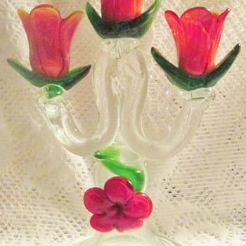 Floral Art Glass Tabletop Candelabra