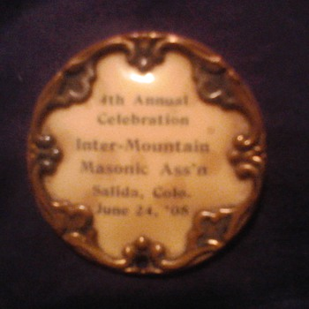 """4th annual celebration masons assn' June 24 ,1908""  Whitehead & Hoag pin"