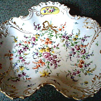 "Elegant ""Dresden"" Serving Dish / Hand Painted Floral and Gilt Design /Dresden Crown and ""H"" Mark Unknown Age - China and Dinnerware"