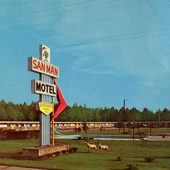 San Man Motel & Restaurant Postcard - Postcards