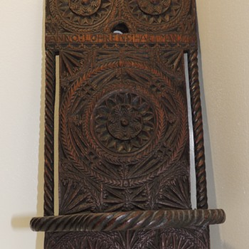 Chip Carved Wall Shelf (Possibly Repurposed) -ANNO:LOHERNS:HARTMAN:1700 - Bergen County, NJ - Furniture