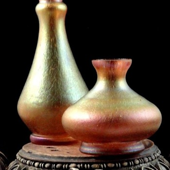 Bohemian Kralik Iridescent Peach Oil Spot Art Glass Vases - Art Glass