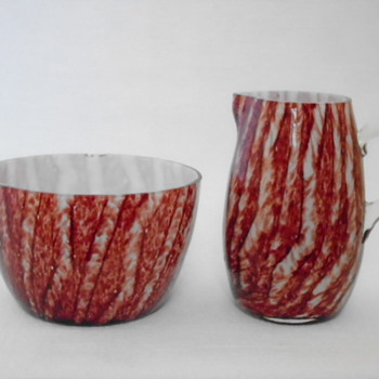 Welz Sugar Bowl and Creamer - Art Glass