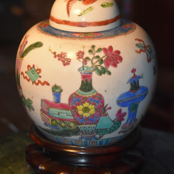 Chinese Ginger Jar filled with Preserved Fruit - Asian