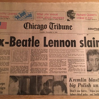 Chicago Tribune-December 9, 1980 - Music Memorabilia