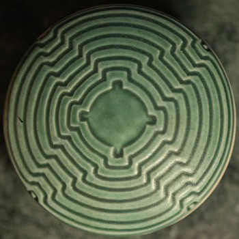 Green Porcelain Box with Geometric Design - Pottery