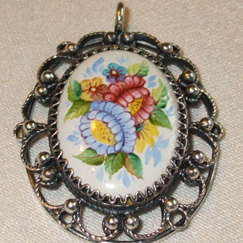 Hand Painted Silver Filigree BROOCH- Who made this & when? - Fine Jewelry