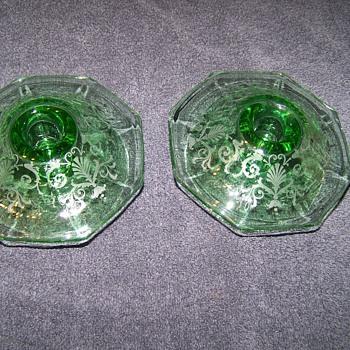 Fostoria Versailles Etched Candlesticks - Art Glass
