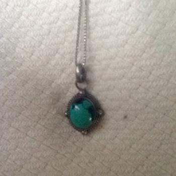 Turquoise and sterling necklace and 2 rings  - Fine Jewelry