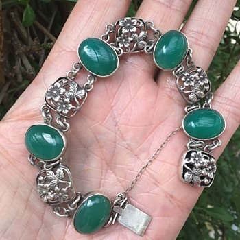 Silver and Agate Bracelet  - Arts and Crafts