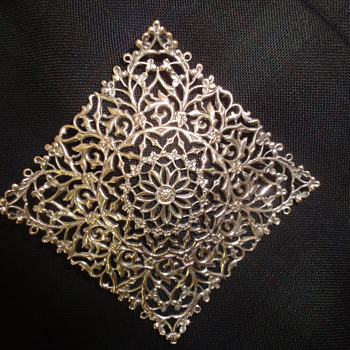Large Silver Filigree Square Brooch  - Fine Jewelry