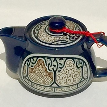 Teapot & Strange Makers Mark Cobalt Blue Raised Design Any Ideas Who Made It - Pottery