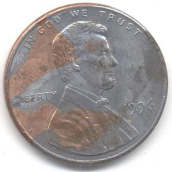 us coin 1996 peny Lamination