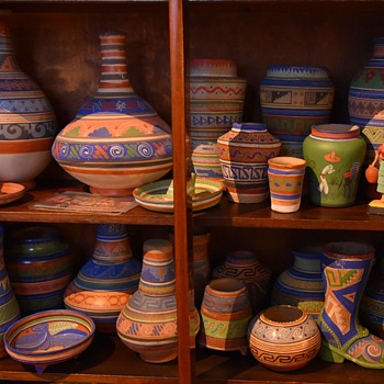 Most of my collection of Mayan Revival or Aztec Tourist Ware - Postcards