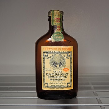 1939 Old Overholt Whiskey Bottle 1/10 Pint Mini Flask Broadford, PA National Distillers Florida Tax Stamp Vintage - Bottles