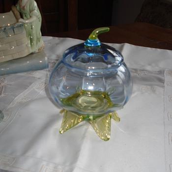 A bohemian blue and honey hand blown fruit - Art Glass