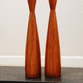 "Pre MCM Teakwood Swedish? Denmark?  Tall Wooden Candle Sticks 13"" - Mid-Century Modern"