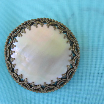 Mother of Pearl Brooch - Costume Jewelry