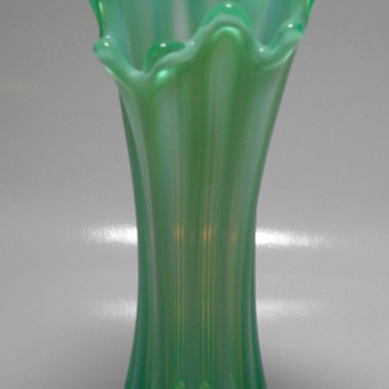 "Fostoria ""Heirloom"" - Green Opalescent Vase - Art Glass"