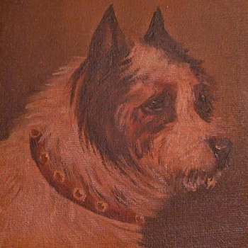Oil Painting Of A Terrier England - Fine Art