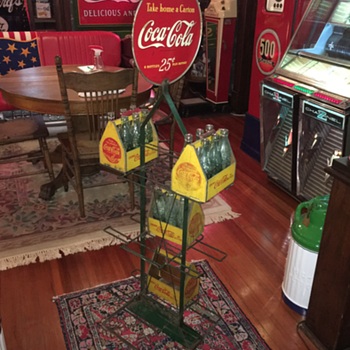 1930's Coca-Cola display  rack with double-sided sign - Coca-Cola