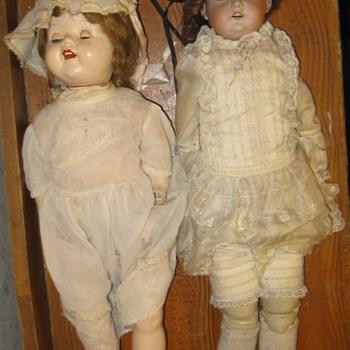 Mystery Antique Dolls Glass Eyes Curley Hair - German Possibly - Dolls