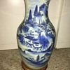 19th Century Chinese White and Blue Landscape Scene Vase