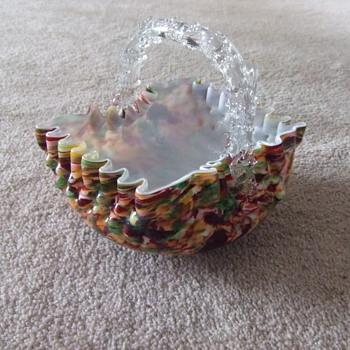 Victorian Art Glass thorn handled basket - Art Glass