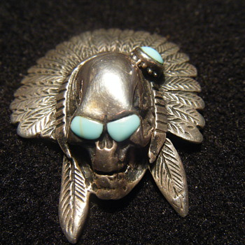 Large Native American Sterling Silver + turquoise pendant - Native American