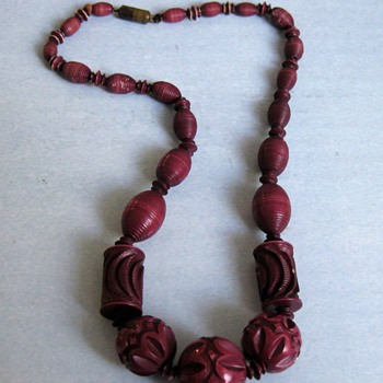 Grape color carved celluloid necklace - Costume Jewelry