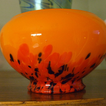 KRALIK Orange TANGO Spatter Glass BOWL - Art Glass