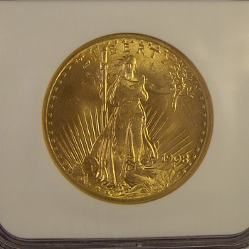 "$20 ""No Motto"" Saint Gaudens Double Eagle 1908"