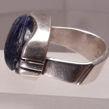 Potentially Good Scarab Ring Sterling Silver Lapis Turquoise Egyptian Revival