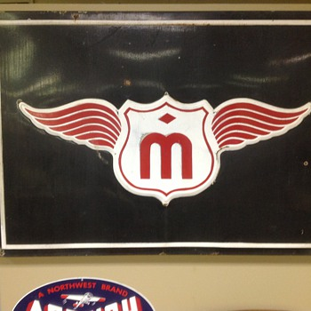 Vintage porcelain 3'x5' sign, probably fuel company related. - Petroliana