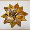 Large enameled Flower Brooch - Unmarked