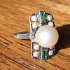 Vintage Pearl and Emerald Ring Unmarked.  Silver? White Gold?